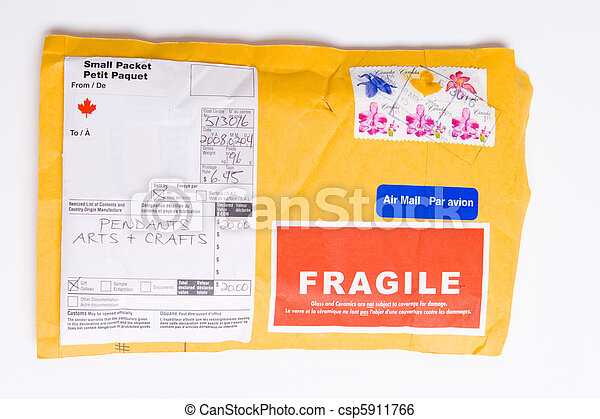 Fragile Canadian Airmail Mailer Package Customs - csp5911766