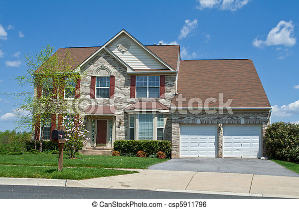 Front View Brick Single Family Home Suburban MD