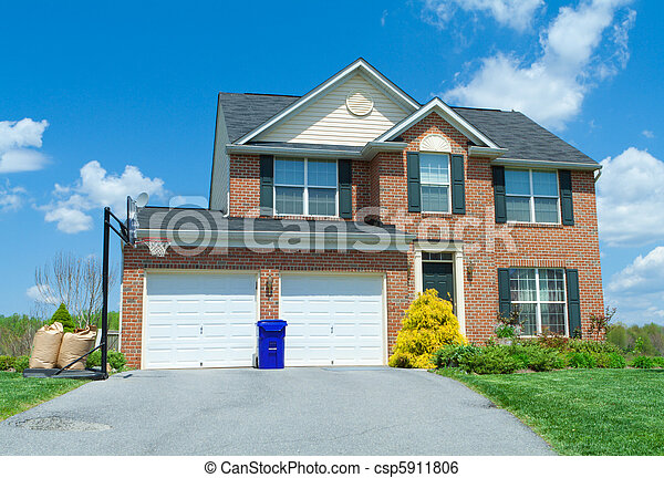 Front Brick Faced Single Family Home Suburban MD - csp5911806
