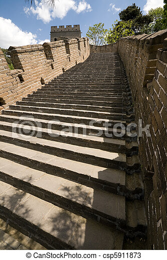 Restored Steps Mutianyu Great Wall, Beijing, China - csp5911873