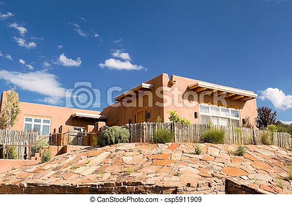 Mission Adobe Home Palisade Fence Santa Fe NM USA - csp5911909