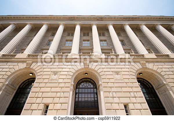 Imposing Facade of IRS Building Washington DC USA - csp5911922
