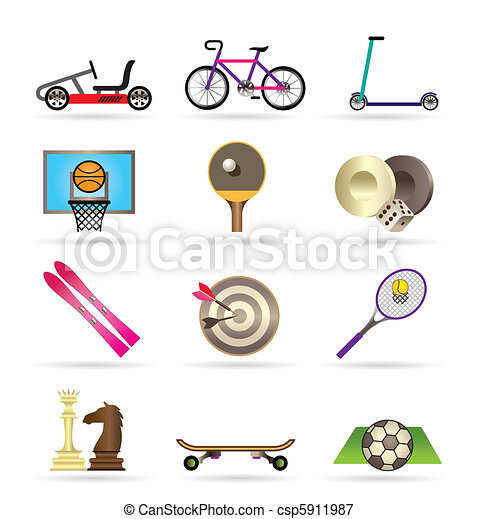 sports equipment and objects icons - csp5911987