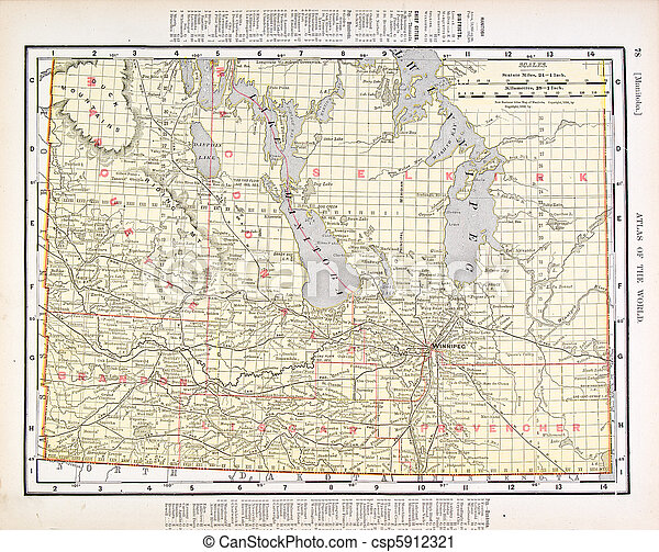 Antique Vintage Color Map of Manitoba, Canada - csp5912321