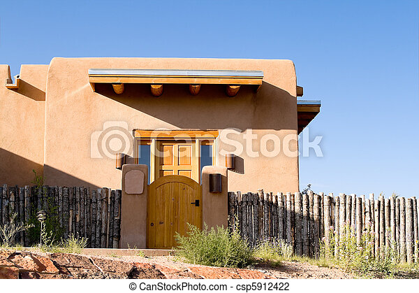 Adobe Single Family Home Fence Santa Fe New Mexico - csp5912422
