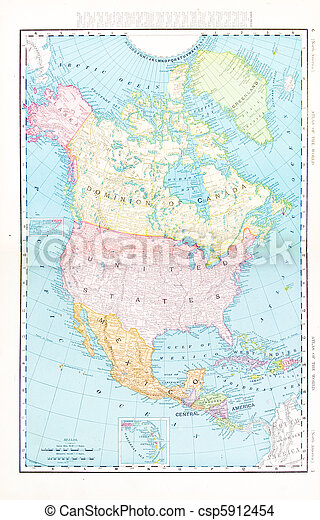 Antique Color Map North America Canada Mexico, USA - csp5912454