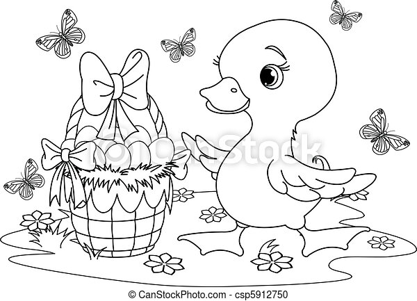 Easter duckling. Coloring page - csp5912750