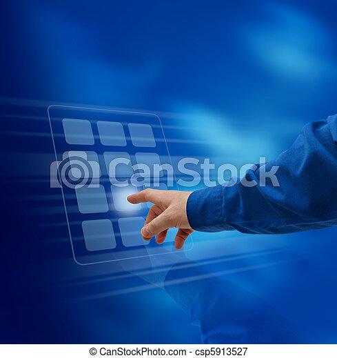 Hand pushing virtual keypad - csp5913527