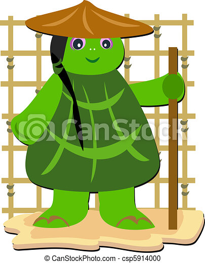 Turtle Monk with a Stick - csp5914000