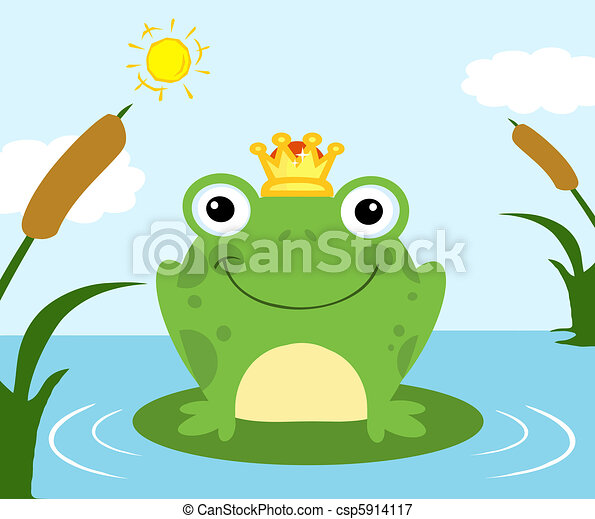 Frog Prince On A Pond - csp5914117