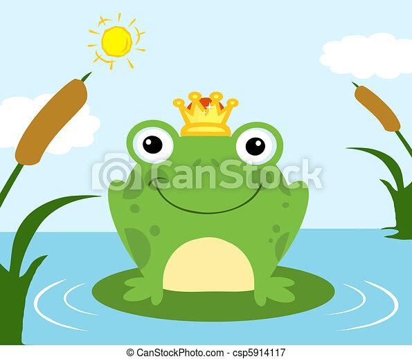 Frog Prince On A Pond - csp5914117