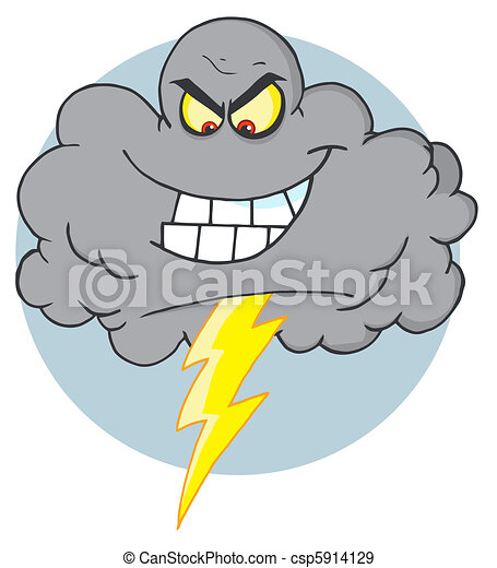 Cartoon Black Cloud With Lightning - csp5914129