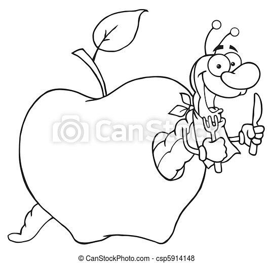 Vettore di felice mela verme cartone animato for Immagini da colorare bruco
