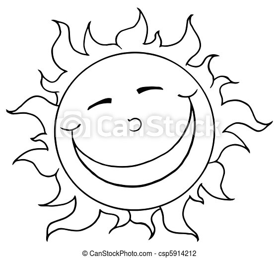 Outlined Smiling Sun Mascot  - csp5914212