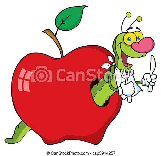 caricatura, gusano, en, manzana - csp5914257