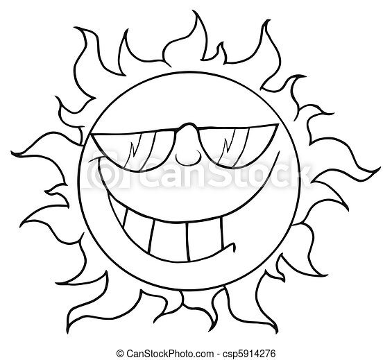 Outlined Smiling Sun Mascot  - csp5914276