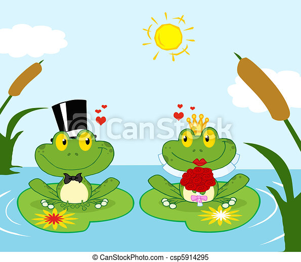 Frog Bride And Groom On A Pond - csp5914295