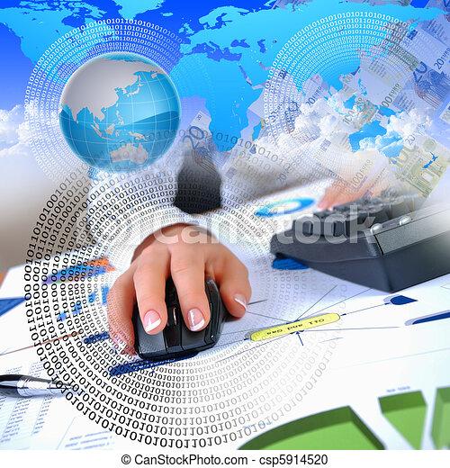 human hand and computer keyboard - csp5914520