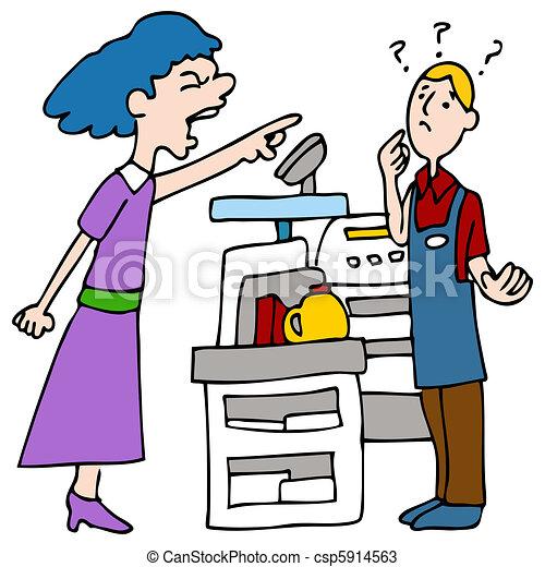 Angry Customer Yelling at Cashier - csp5914563
