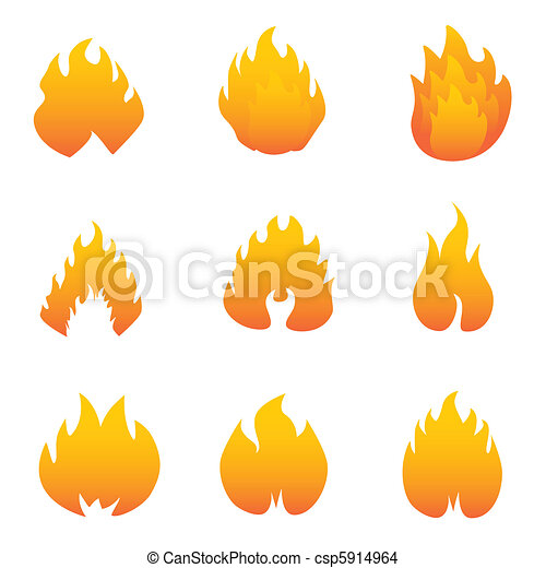 Flame and fire symbols - csp5914964