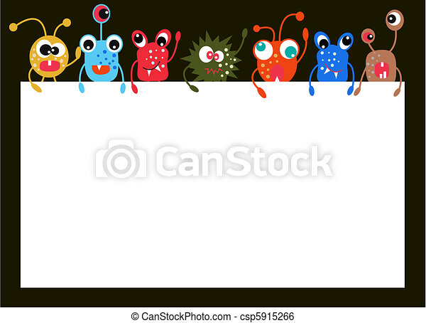 monsters holding a placard - csp5915266