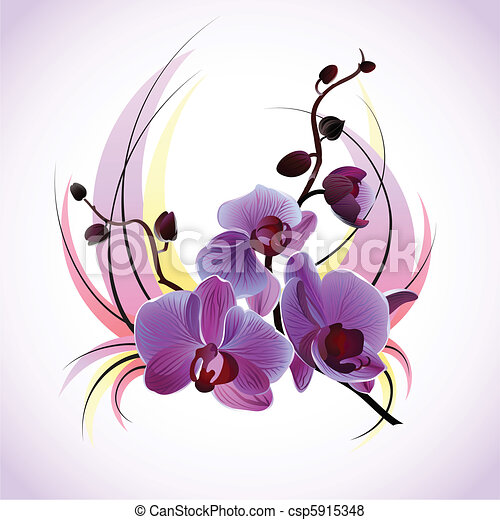 Vector greeting card with orchids - csp5915348