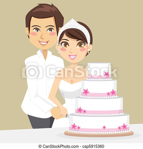 Cutting Wedding Cake csp5915360 Bride and Groom happily cutting the