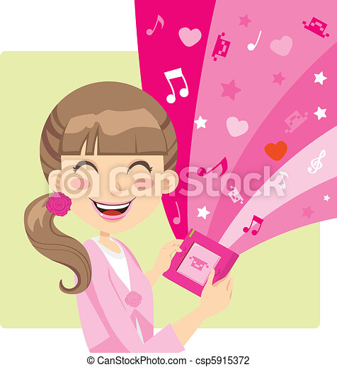 Girl Playing Video Games - csp5915372