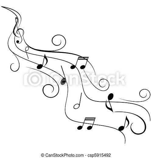 Music notes on swirl stave - csp5915492