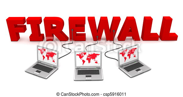 Clipart of Multiple Wired to Firewall - three laptops with blue ...