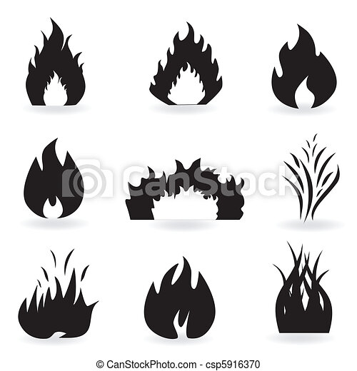 Flame and fire symbols - csp5916370