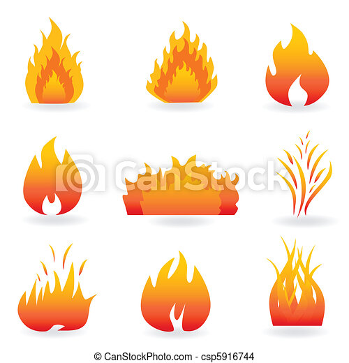 Flame and fire symbols - csp5916744