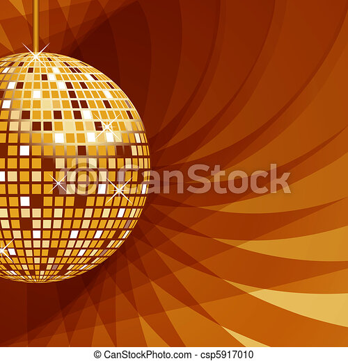 Disco ball gold on abstract background - csp5917010