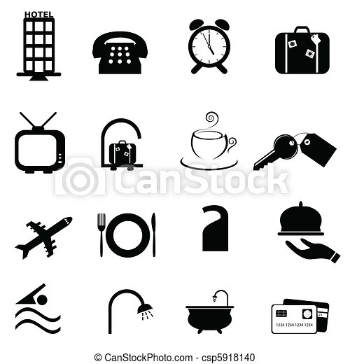 Hotel symbols icon set - csp5918140
