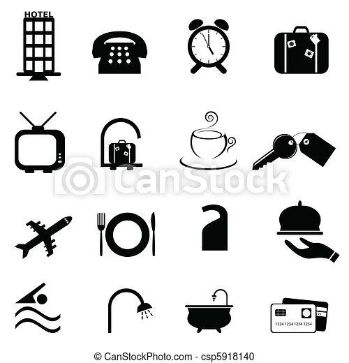 Hotel symbols icon set - csp5918140