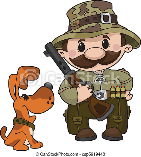 hunter and dog - csp5919448