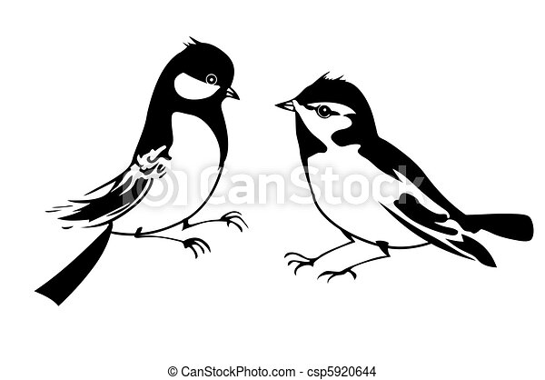 vector silhouette of the small bird on white background - csp5920644