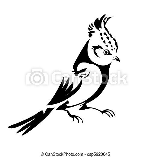 vector silhouette of the small bird on white background - csp5920645