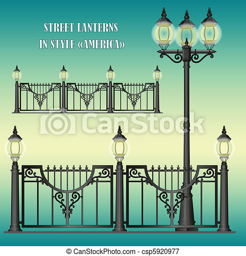 Shod street fence with lanterns - csp5920977