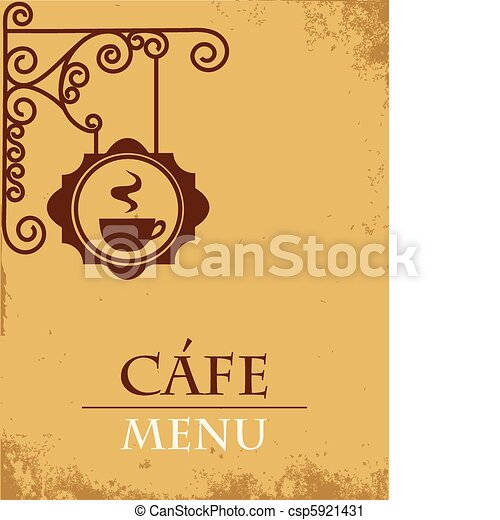 Vector Clip Art of Ancient street signboard coffee house 1 ...