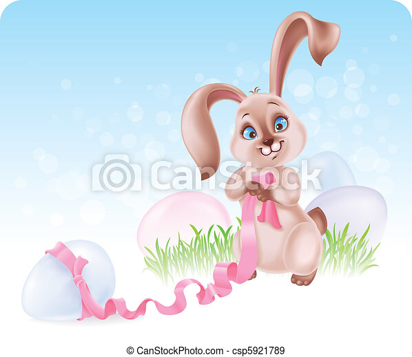 Easter Bunny at the Egg hunt - csp5921789