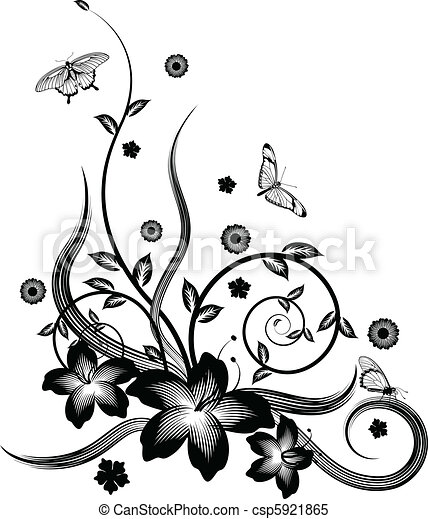 Gorgeous black corner floral design - csp5921865