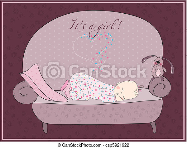 Newborn Baby Girl Sleeping Card - csp5921922