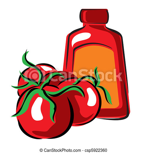 Vector Clipart of tomato and ketchup - vector image of tomato and ...