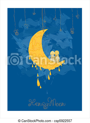 Cute Honeymoon Postcard in vector - csp5922557