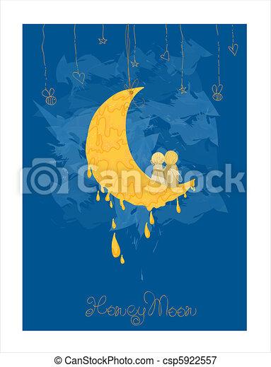 Cute Honeymoon Postcard in vector - csp5922557