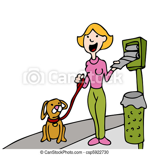 Using Pet Waste Bag Dispenser While Walking Dog - csp5922730