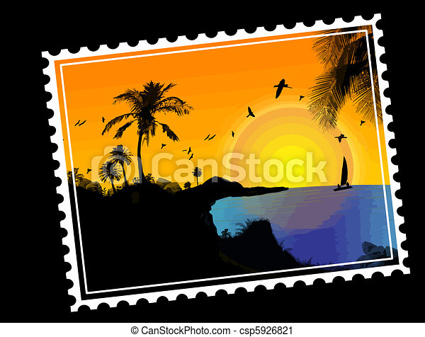 Tropical paradise Postal stamp - csp5926821