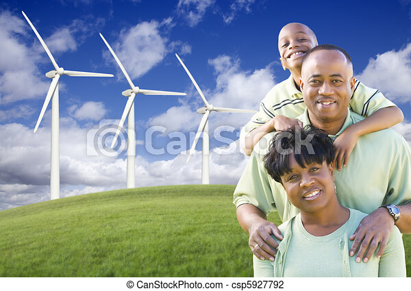 Happy African American Family and Wind Turbine - csp5927792