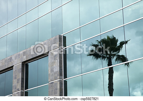 Dramatic Reflective Corporate Building - csp5927821